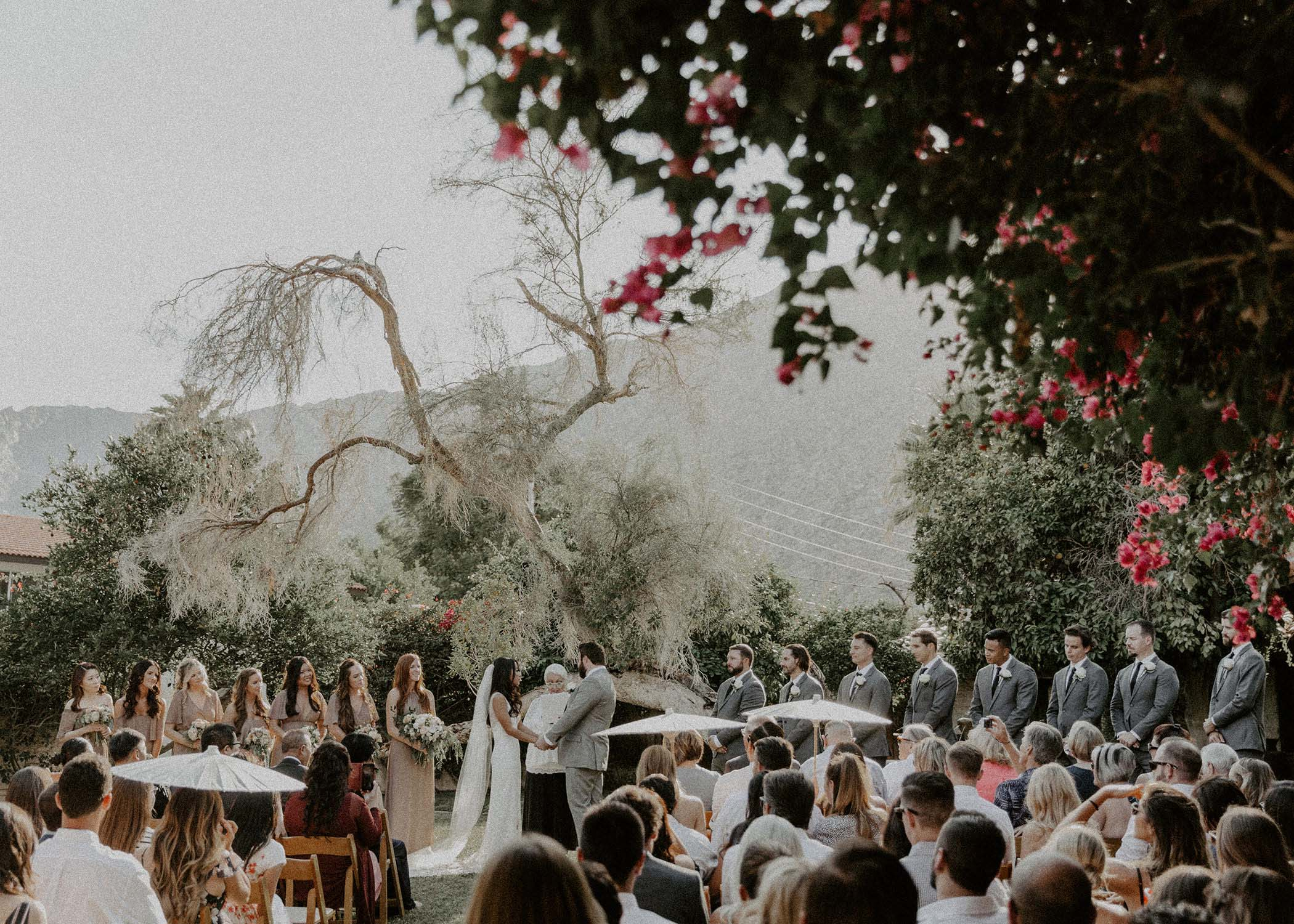 A big wedding event during ceremony time photographed in Palm Springs