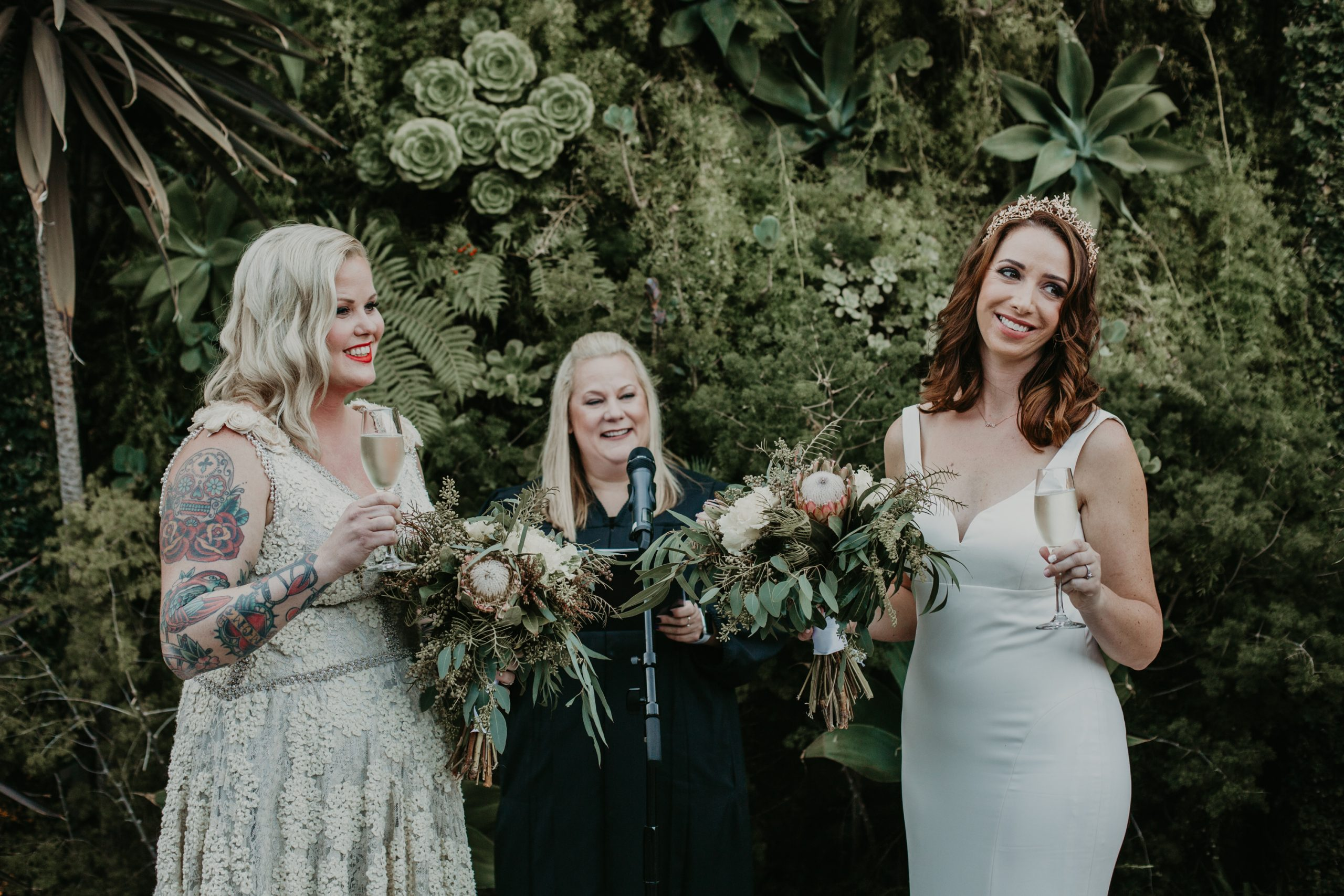 lgbt wedding ceremony toast at the Smogshoppe venue in Los Angeles